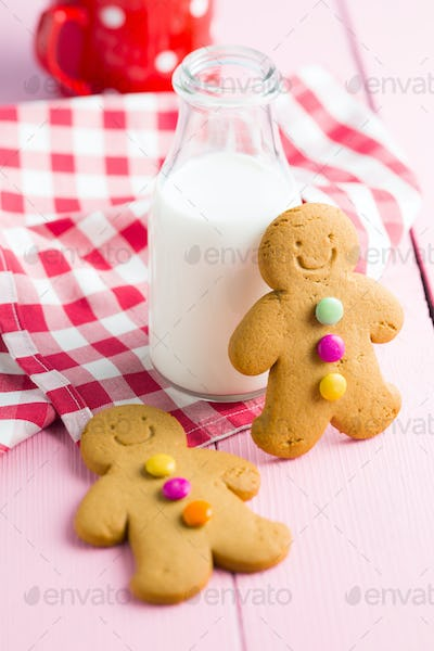 Sweet gingerbread man and milk bottle.