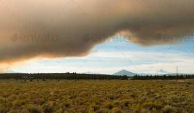 Dramatic Sky Wildfire Smoke Sunset Three Sisters