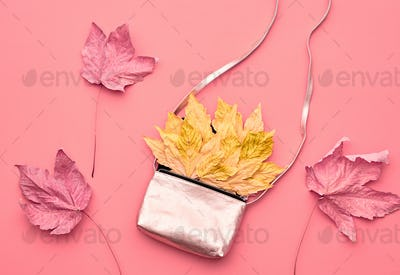 Autumn Arrives.Fashion Handbag Clutch.Fall Leaves.