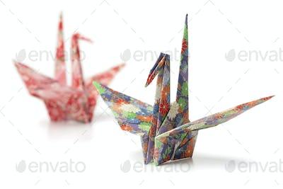 Origami paper crane birds