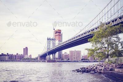 Manhattan Bridge in New York City, USA.
