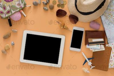 Summer holidays preparing, travel background