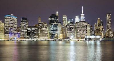 Panoramic picture of Manhattan at night, New York.