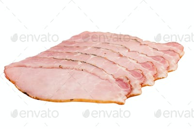 smoked pork fillet slices isolated on white