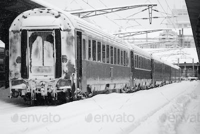 Rear view of train in railway station in winter time