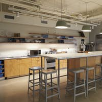 Kitchen area in corporate business cafeteria, Los Angeles