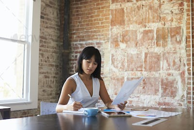 Businesswoman Making Notes On Document In Boardroom