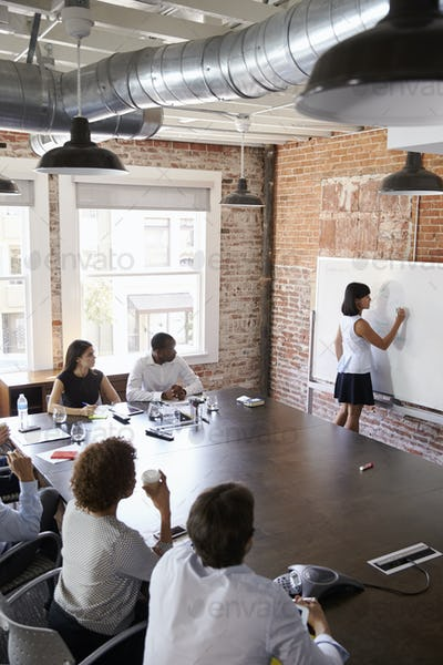 Businesswoman At Whiteboard Giving Presentation In Boardroom