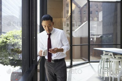 Asian businessman standing in modern office using phone