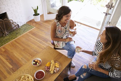 Two Female Friends Socializing Together At Home