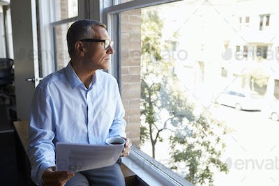Businessman Reading Document Sitting By Office Window