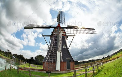 windmill over sky via fisheye