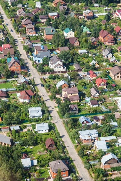 above view of suburban village in Moscow Region