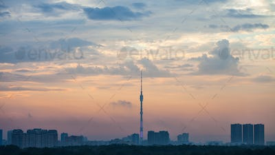 blue and pink dawning over Moscow city