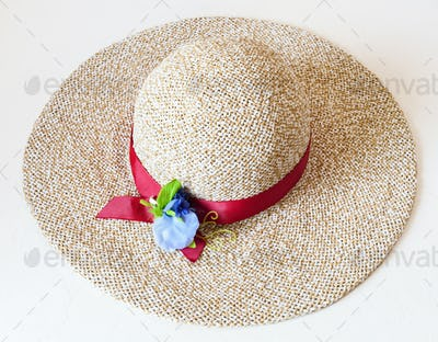 ladies' wide brim straw hat with red band