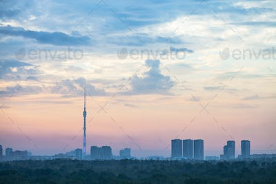 blue and pink sunrise sky over Moscow city