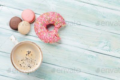 Coffee cup and sweets