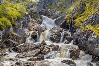 Waterfall with long exposure and blurred water flow