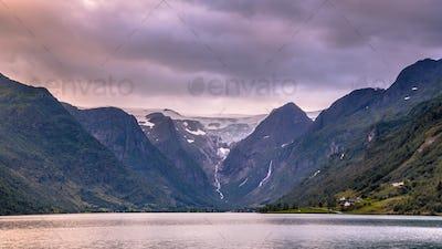 View of Briksdalsbreen Glacier valley