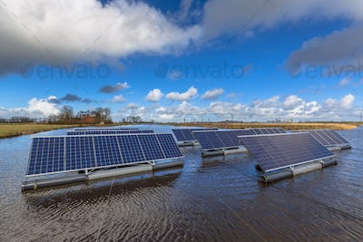Series of Solar panels floating on water