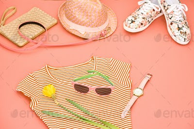 Fashion Hipster girl clothes set. Spring Design