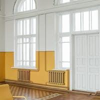 Old railway station waiting room