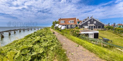 typical fishing village houses in Rozewerf on Marken island with