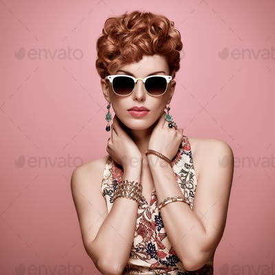 Fashion Redhead Model. Stylish Mohawk hairstyle