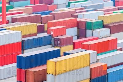container cargo terminal closeup