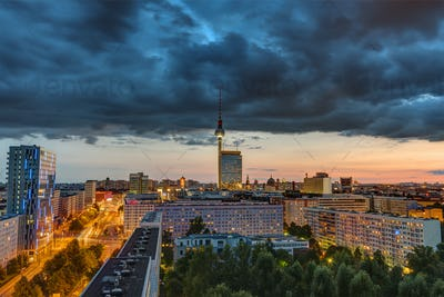 Dark sky at sunset over downtown Berlin