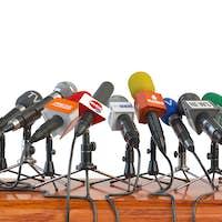 Microphones of different mass media, radio, tv and press prepare