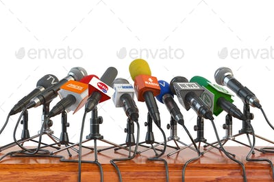 Microphones of different mass media, radio, tv and press prepare
