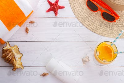 Beach accessories background