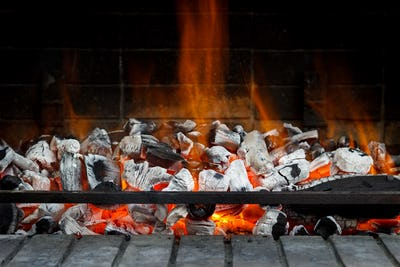 Empty Hot Charcoal with flame