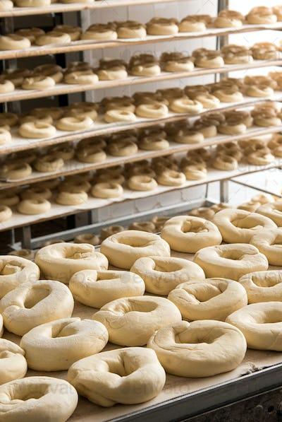 Dough prepared in industrial bagels factory