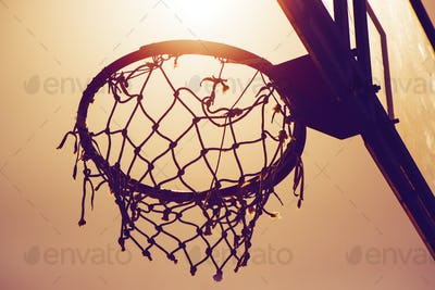 Basketball hoop on amateur outdoor basketball court