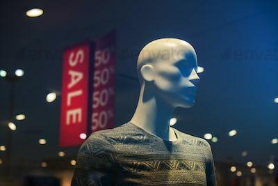 Discount store boutique mannequin, male figure portrait