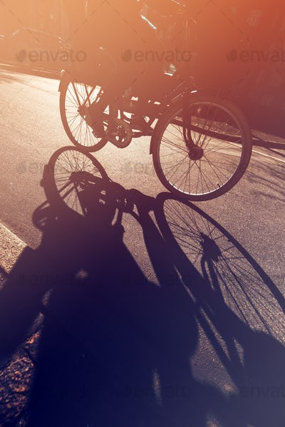 Shadow of unrecognizable cyclist on the road