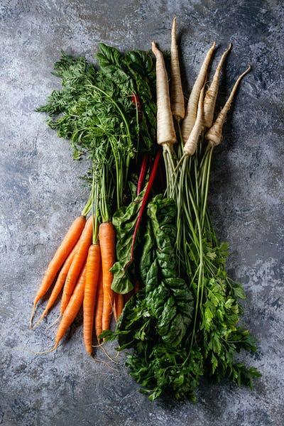 Bundle of fresh carrot and parsnip