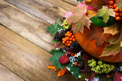 Fall background with vegetables, berries and leaves, copy space