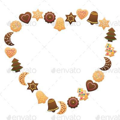 Christmas Cookies Frame Heart Love
