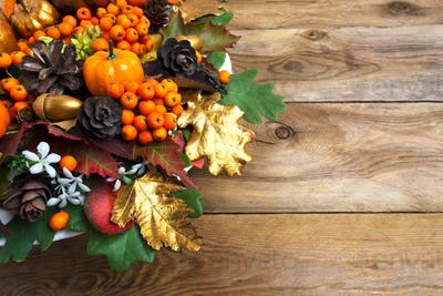 Thanksgiving garland with squash and berries copy space