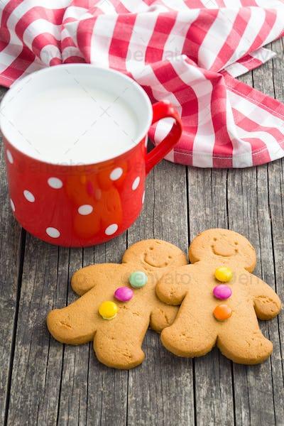 Two gingerbread men and mug of milk.