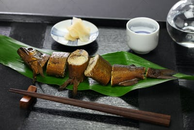 ayu with roe simmered in soy sauce and sugar, japanese appetizer for sake