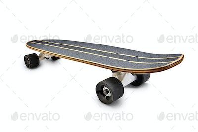 Rear view of a Black and wooden skate board isolated