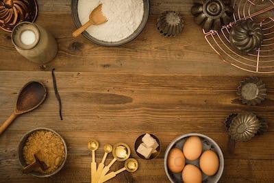 Basic baking ingredients