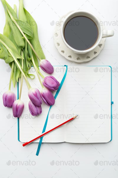 Desk with flowers