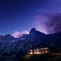 Night view on Tatra Mountains from Zelene pleso lake valley, Slovakia, Europe