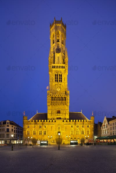 Belfry And Market Of Bruges At Night