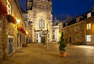 Aachen Domhof At Night, Germany